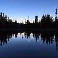 5:35 AM Moonset at Reflection Lakes