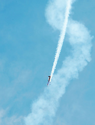 Jacquie Warda puts her Extra 300L monoplane into a steep dive at this weekend's  California International Airshow Salinas. The exhibition featured state-of-the-art precision flying from the US Air Force Thunderbirds, Canada's CF-18 demonstration team and the civilian Patriots jet team. Both days of the show highlighted aerobatic routines from Warda, Sean Tucker, and Kent Pietsch, aerial tributes to flying legends Clay Lacy and Bob Hoover, and plenty of static aircraft displays for the whole family.