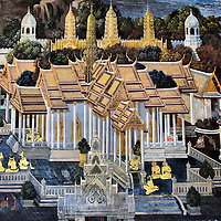 Glory of Rama Mural at Grand Palace in Bangkok, Thailand<br />