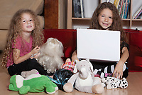 caucasian little girls playing sibling complicity isolated studio
