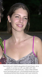 The HON.LUCY OWEN daughter of Lord Owen, at a party in London on 4th July 2001.OPY 355