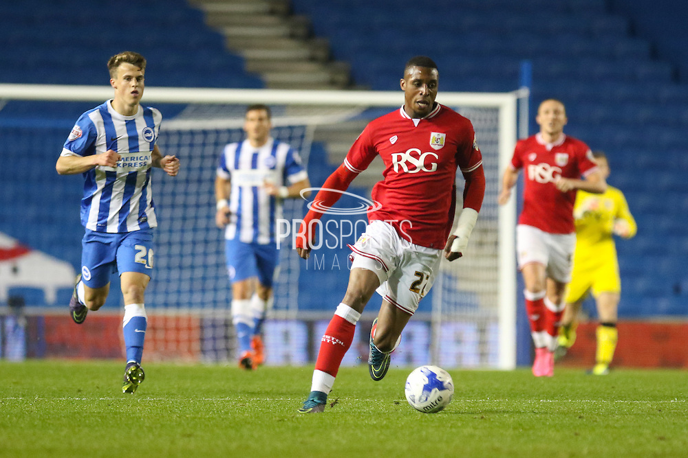 Bristol City striker Jonathan Kodija (22) pushing forward during the Sky Bet Championship match between Brighton and Hove Albion and Bristol City at the American Express Community Stadium, Brighton and Hove, England on 20 October 2015. Photo by Phil Duncan.