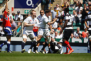 Picture by Andrew Tobin/Tobinators Ltd +44 7710 761829.26/05/2013.Freddie Burns of England celebrates scoring the first try during the match between England and the Barbarians at Twickenham Stadium, Twickenham.