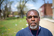 "Baltimore, Maryland - April 21, 2015: Kevin Dudley, 51, a neighbor and friend of Freddie Gray, is photographed Tuesday April 21st, 2015, by the intersection where Gray was apprehended by Baltimore City police.<br /> ""They're making him out to be a bad guy, but {Freddy} was a very good friend.""<br /> <br /> CREDIT: Matt Roth for The New York Times<br /> Assignment ID: 30173645A"