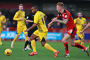 Bristol Rovers striker Jermaine Easter shields the ball from Crawley Town defender Josh Yorweth during the Sky Bet League 2 match between Crawley Town and Bristol Rovers at the Checkatrade.com Stadium, Crawley, England on 21 November 2015. Photo by Bennett Dean.