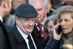 © Licensed to London News Pictures. 28/03/2018. Liverpool, UK. JOHNNY VEGAS leaves Liverpool Cathedral after the service . The funeral of comedian and performer Sir Ken Dodd , who died on 11th March 2018 at the age of 90 . Photo credit: Joel Goodman/LNP