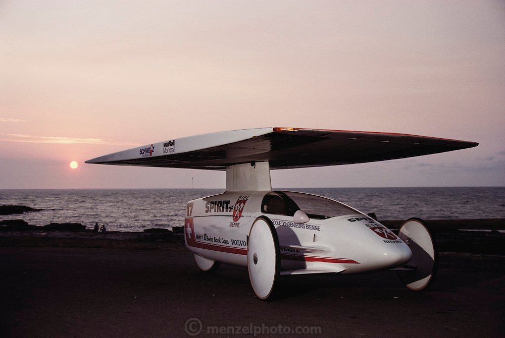 Swiss solar car entry, the Spirit of Biel, on a boat ramp before the start of the Pentax Solar Car Race. Darwin, Northern Territory, Australia.  Pentax World Solar Challenge, the first international solar-powered car race. The event began in Darwin, Northern Territories on November 1st, 1987 and finished in Adelaide, South Australia completing 1,950 miles. (1987)