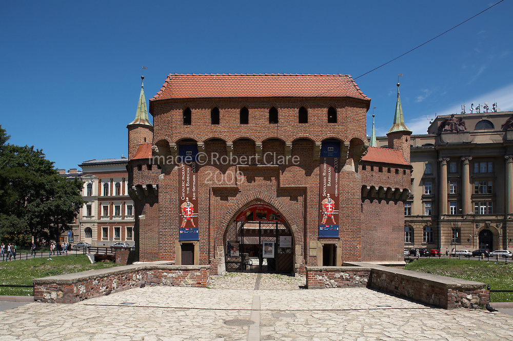 Eastern Europe Poland Malopolska Krakow Barbikan Fortress outside City Walls