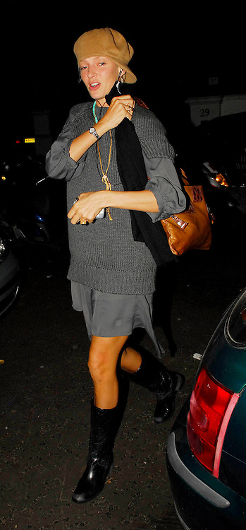 04.OCTOBER.2007. LONDON<br /> <br /> UMA THURMAN LEAVING CIPRIANIS RESTAURANT AT 11.30PM WITH HER NEW BOYFRIEND ARPAD BUSSON AND  FRIENDS BEFORE HEADING ONTO NEW CLUB BUNGALO 8, SOHO. THEY THEN LEFT AT 2.00AM LOOKING WORSE FOR WEAR BEFORE HEADING HOME.<br /> <br /> BYLINE: EDBIMAGEARCHIVE.CO.UK<br /> <br /> *THIS IMAGE IS STRICTLY FOR UK NEWSPAPERS AND MAGAZINES ONLY*<br /> *FOR WORLD WIDE SALES AND WEB USE PLEASE CONTACT EDBIMAGEARCHIVE - 0208 954 5968*