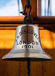 Ship's bell on RSS Discovery ship berthed at Discovery Point in Dundee ,Tayside, Scotland,