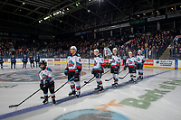 KELOWNA, BC - JANUARY 8: The Pepsi Player lines up with Devin Steffler #4, Conner McDonald #7, Dillon Hamaliuk #22, Pavel Novak #11 and Matthew Wedman #20 of the Kelowna Rockets against the Victoria Royals at Prospera Place on January 8, 2020 in Kelowna, Canada. (Photo by Marissa Baecker/Shoot the Breeze)