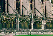 Side view of the walls and windows of Kings College Chapel in Cambridge, England, United Kingdom.