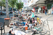 June 19 2016, flash mob in Tel Aviv, Israel Cyclists lie on the alleged bicycle lane under the municipality building protesting the lack of adequate infrastructure for safe cycling in the city. The Tel Aviv-Jaffa municipality (Mayor Ron Huldai) claims 150 km of bicycle lanes but most of them are just a white line on the sidewalk causing friction between pedestrians and cyclists