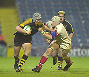 London. Great Britain,  Wasps No.8 Mark LOCK is held by Paddy JOHNS, during the Heineken Cup. London Wasps v Ulster Match, played at Loftus Road, West London. 06/01/2002.  [Mandatory Credit;  Peter Spurrier/Intersport Images]