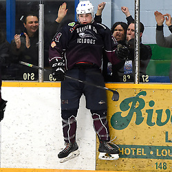 DRYDEN, ON - MAY 1: Eric Stout #14 of the Dryden GM Ice Dogs celebrates the goal in the third period during Game Two of the Central Canadian Junior Championship during the 2018 Dudley Hewitt Cup on May 1, 2018 at the Dryden Memorial Arena in Dryden, Ontario, Canada. (Photo by Andy Corneau/DHC via OJHL Images)