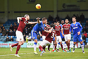 Gillingham forward Cody MacDonald (10) being pulled by Northampton Town defender David Buchanan (3) during the EFL Sky Bet League 1 match between Gillingham and Northampton Town at the MEMS Priestfield Stadium, Gillingham, England on 12 November 2016. Photo by Martin Cole.