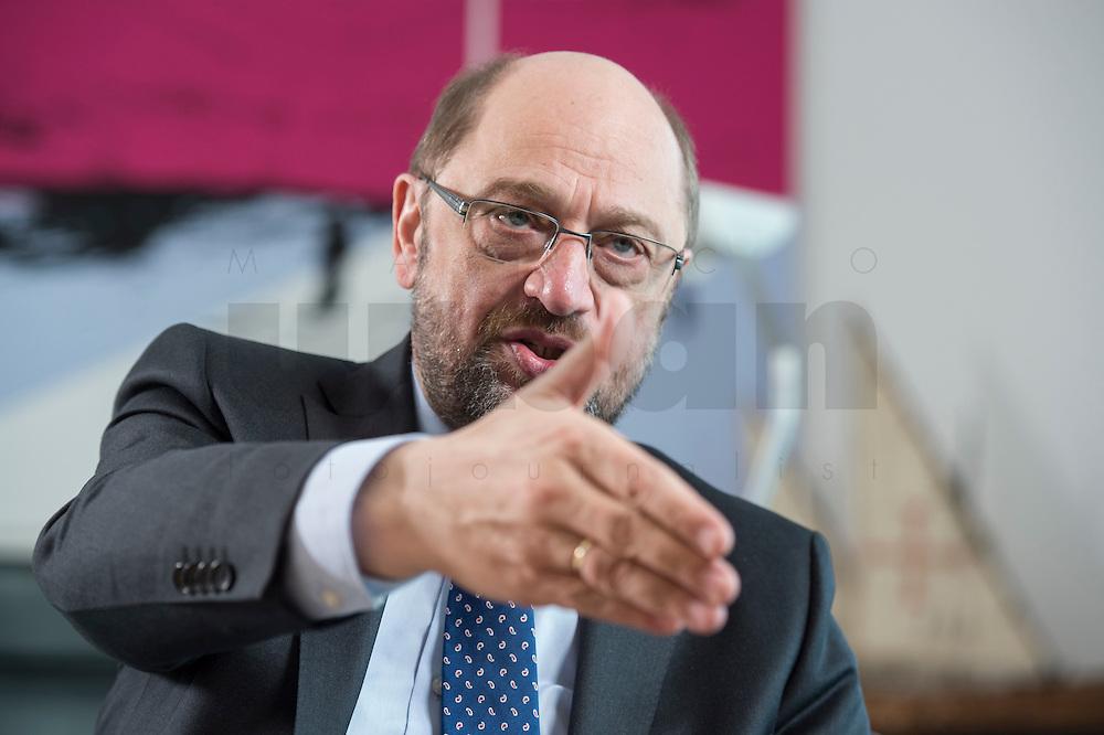 27 FEB 2017, BERLIN/GERMANY:<br /> Martin Schulz, SPD, desig. Parteivorsitzender und Kanzlerkandidat, waehrend einem Interview, in seinem Beuro, Willy-Brandt-Haus<br /> IMAGE: 20170227-01-031