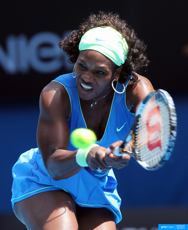 Serena Williams on her way to victory over Shuai Peng of China at the Australian Tennis Open on January 24, 2009 in Melbourne, Australia. Photo Tim Clayton    .