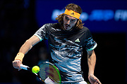 Stefanos Tsitsipas of Greece in action during the Nitto ATP Finals at the O2 Arena, London, United Kingdom on 15 November 2019.