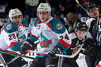 KELOWNA, CANADA - MARCH 10: Kyle Topping #24 of the Kelowna Rockets looks for the pass in front of Owen Hardy #15 of the Vancouver Giants on March 10, 2017 at Prospera Place in Kelowna, British Columbia, Canada.  (Photo by Marissa Baecker/Shoot the Breeze)  *** Local Caption ***