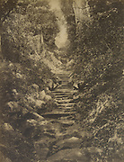 Caption on back reads 'Mihintale'  The steps at Mihintale Temple.<br /> Skeen & Co. Photographs of the historical sites of Ceylon.