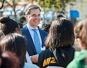 Muñoz Architects' Geof Edwards talks with students during Sharpstown High School groundbreaking ceremony, February 7, 2015.
