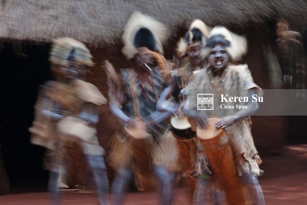 Kikuyu people (Gikuyu) dance and beat the drum, Aberdare National Park, Kenya
