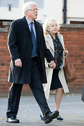 © Licensed to London News Pictures. 13/11/2017. Wakefield UK. Sheila Connor (sister of Ann Maguire) arrives at Wakefield Coroners Court this morning. The inquest into the death of Leeds teacher Ann Maguire is starting today at Wakefield Coroners Court. Mrs Maguire, a 61 year old Spanish teacher, was stabbed to death by Will Cornick at Corpus Christi Catholic College in Leeds in April 2014. The school pupil, who was 15 at the time, admitted murdering Mrs Maguire and was given a life sentence later that year. Since then, some of Mrs Maguire's family have campaigned for further investigation into her death as they believe more could have been done to prevent the tragedy. Photo credit: Andrew McCaren/LNP