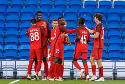 CARDIFF, WALES - Thursday, August 9, 2018: FC Midtjylland's Paul Onuachu (2nd from left) celebrates scoring the first goal during the UEFA Europa League Third Qualifying Round 1st Leg match between The New Saints FC and FC Midtjylland at Cardiff City Stadium. (Pic by David Rawcliffe/Propaganda)