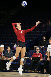 October 7, 2018 - Tucson, AZ, U.S. - TUCSON, AZ - OCTOBER 07: Washington State Cougars middle blocker Jocelyn Urias (6) serves the ball during a college volleyball game between the Arizona Wildcats and the Washington State Cougars on October 07, 2018, at McKale Center in Tucson, AZ. Washington State defeated Arizona 3-2. (Photo by Jacob Snow/Icon Sportswire) (Credit Image: © Jacob Snow/Icon SMI via ZUMA Press)