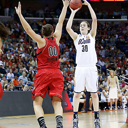 Apr 9, 2013; New Orleans, LA, USA; Connecticut Huskies forward Breanna Stewart (30) shoots against Louisville Cardinals forward Sara Hammond (00) during the first half of the championship game in the 2013 NCAA womens Final Four at the New Orleans Arena. Mandatory Credit: Derick E. Hingle-USA TODAY Sports