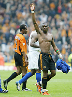 PREMIER DIVISION       1/5/2004<br /> WOLVES V EVERTON<br /> carl cort waves tp the crowd after final whistle