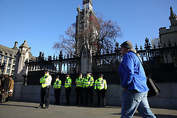 "© Licensed to London News Pictures. 08/01/2019. London, UK. Extra Police Officers outside Houses of Parliament after the Conservative MP Anna Soubry was surrounded by protesters on Monday calling her a ""Nazi"". Photo credit: Dinendra Haria/LNP"