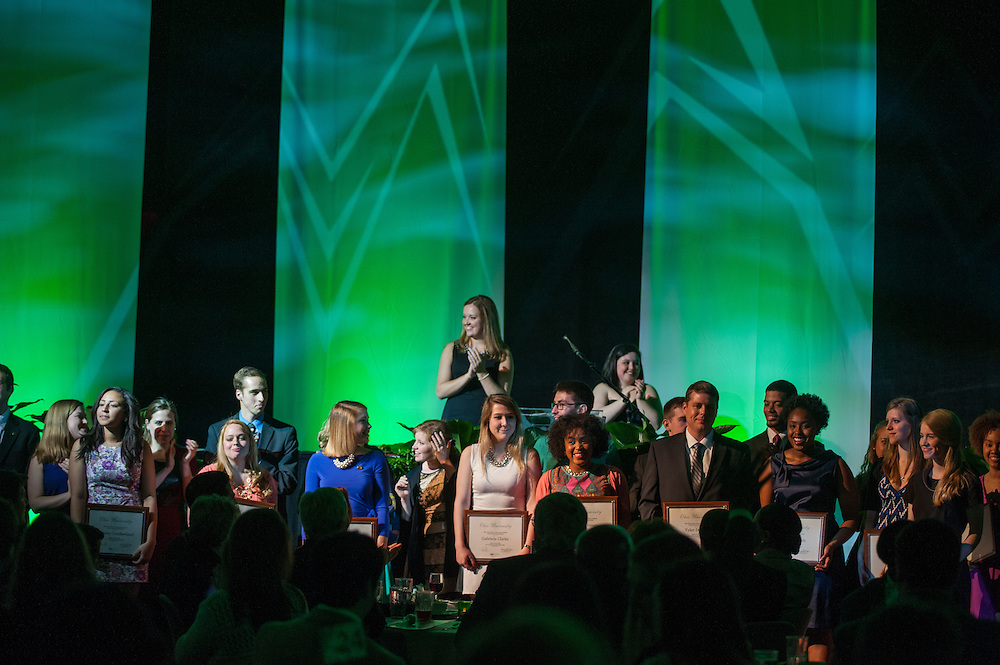 Students awarded the Pepsi Ohio University Leadership Scholarship line up along the stage to recieve their plaques during the 31st Annual Leadership Awards Gala.