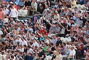 Sussex Sharks fans celebrate a boundary during the NatWest T20 Blast South Group match between Sussex County Cricket Club and Kent County Cricket Club at the BrightonandHoveJobs.com County Ground, Hove, United Kingdom on 3 July 2015. Photo by Bennett Dean.