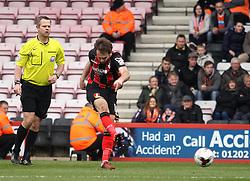 Bournemouth's Brett Pitman scores his third goal - Photo mandatory by-line: Robbie Stephenson/JMP - Mobile: 07966 386802 - 14/03/2015 - SPORT - Football - Bournemouth - Dean Court - AFC Bournemouth v Blackpool - Sky Bet Championship