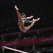 Gabrielle Douglas, USA, in action during the Gymnastics Artistic, Women's Apparatus, Uneven Bars Final at the London 2012 Olympic games. London, UK. 6th August 2012. Photo Tim Clayton