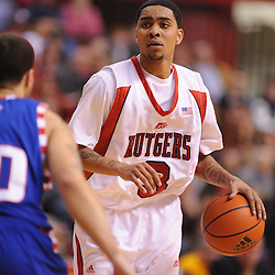 Jan 31, 2009; Piscataway, NJ, USA; Rutgers guard Mike Rosario (3) controls the ball during the second half of Rutgers' 75-56 victory over DePaul in NCAA college basketball at the Louis Brown Athletic Center