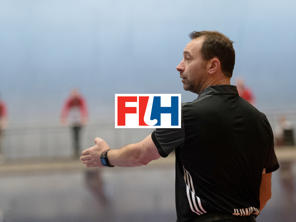 BERLIN - Indoor Hockey World Cup<br /> Austria - Belgium<br /> foto: umpire Lee Barron<br /> WORLDSPORTPICS COPYRIGHT FRANK UIJLENBROEK