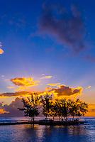 Sunset seen from Manava Suite Beach Resort, Punaauia, Tahiti, French Polynesia.