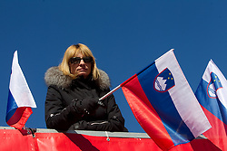 Fan of Slovenia during 2nd Rund of Men's Giant Slalom of FIS Ski World Cup Alpine Kranjska Gora, on March 5, 2011 in Vitranc/Podkoren, Kranjska Gora, Slovenia.  (Photo By Vid Ponikvar / Sportida.com)