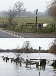 ©Licensed to London News Pictures  <br /> Yalding ,UK. Comparison picture showing Flood waters receding from the River Medway and River Beult in Yalding today 28/12/2019 (TOP) and at their height a week ago on 22/12/2019 (BOTTOM).  Photo credit: Grant Falvey/LNP