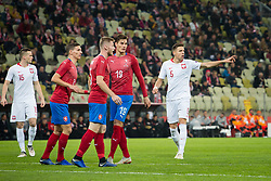 November 15, 2018 - Gdansk, Pomorze, Poland - Patrik Schick (19), Jan Bednarek (5) during the international friendly soccer match between Poland and Czech Republic at Energa Stadium in Gdansk, Poland on 15 November 2018  (Credit Image: © Mateusz Wlodarczyk/NurPhoto via ZUMA Press)
