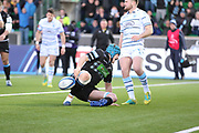 Glasgow Warriors second row forward Scott Cummings (5) scores his sides second try to make the score 12-0 and celebrates during the Heineken Champions Cup match between Glasgow Warriors and Cardiff Blues at Scotstoun Stadium, Glasgow, Scotland on 13 January 2019.