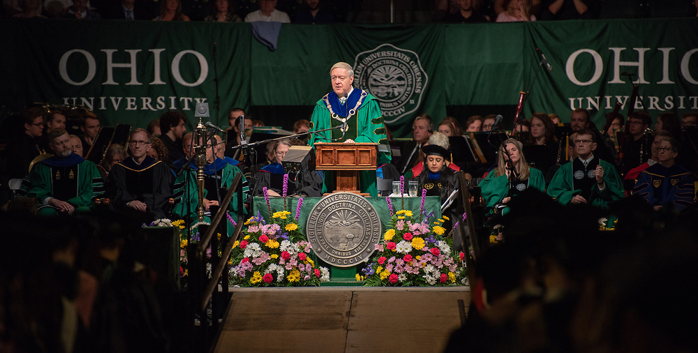 President Nellis speaks at graduate commencement. Photo by Ben Siegel