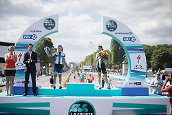 Lotta Lepistö (FIN) of Cervélo-Bigla Cycling Team and Marianne Vos (NED) of Rabo-Liv Cycling Team stand on the podium after finishing second and third, respectively in the La Course, a 89 km road race in Paris on July 24, 2016 in France.