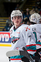 KELOWNA, CANADA - JANUARY 23: Lucas Johansen #7 of Kelowna Rockets stands at the bench during at time out against the Medicine Hat Tigers on January 23, 2016 at Prospera Place in Kelowna, British Columbia, Canada.  (Photo by Marissa Baecker/Shoot the Breeze)  *** Local Caption *** Lucas Johansen;
