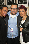5 April 2014 - Washington, DC: (L-R) Camilla Forbes, Producer, One Mic Hip Hop Festival, Hip Hop Scholar Martha Diaz and Clyde Valentin, Founder, One Mic Hip Hop Festival backstage at the launch of ROCK! LIKE A GIRL Inside at the One Mic Hip Hop Festival held at the John F. Kennedy for the Performing Arts on April 5, 2014 in Washington, D.C.  (Terrence Jennings)
