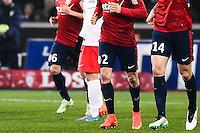 Joie Sebastien Corchia / Simon Kjaer - 03.12.2014 - Lille / Paris Saint Germain - 16eme journee de Ligue 1 -<br />Photo : Fred Porcu / Icon Sport