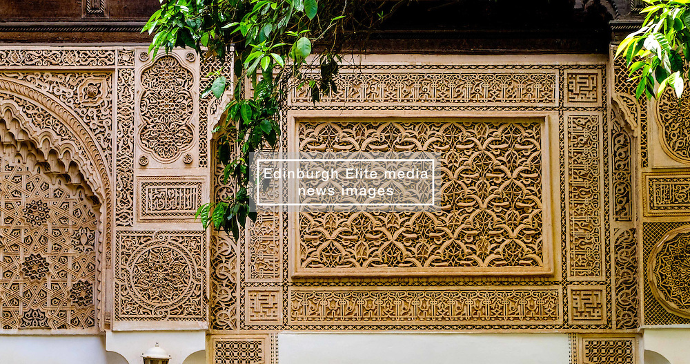 Decorative woodwork in the Bahia Palace in Marrakech, Morocco, North Africa<br /> <br /> <br /> (c) Andrew Wilson | Edinburgh Elite media